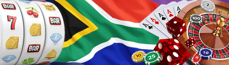 South Africa flag with various casino games, slots, cards and casino chips